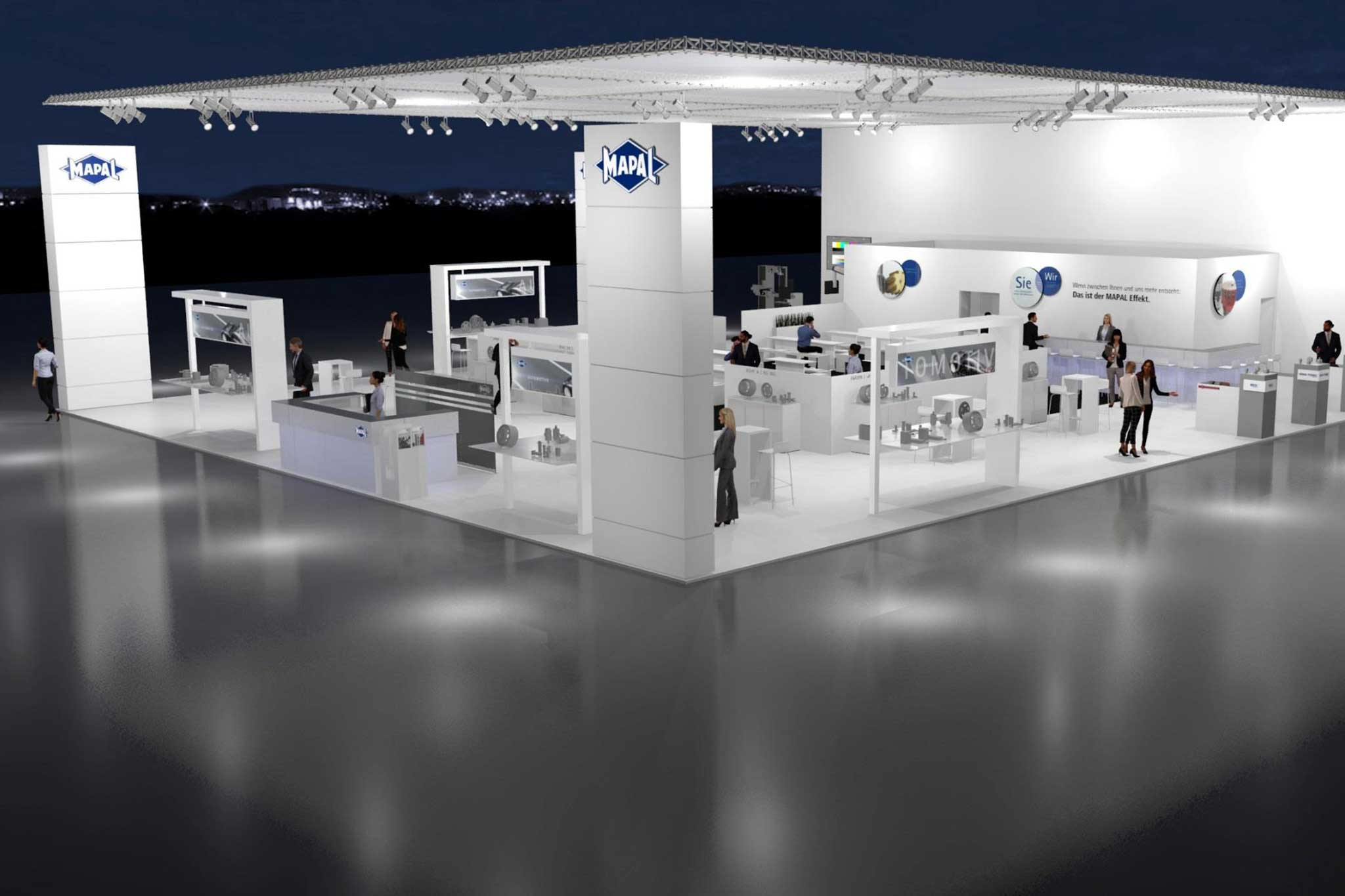 A rendering of the MAPAL exhibition stand. It is mostly white and measures 520 square metres.